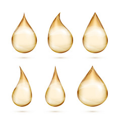 realistic oil drops set isolated white vector image vector image