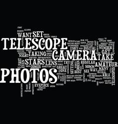 Telescope photos text background word cloud vector