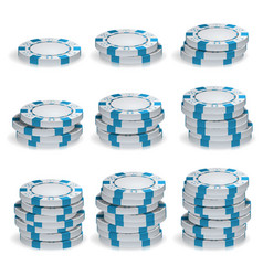white poker chips stacks 3d set plastic vector image