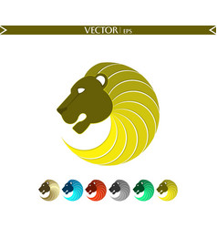 abstract lion logo yellow edition vector image