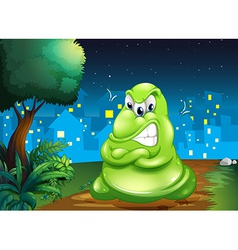 An angry fat monster across village vector