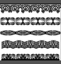 ancient medieval pattern border set vector image