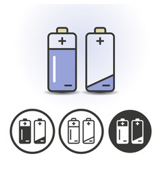 battery full and empty icons vector image