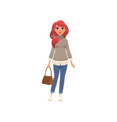 Beautiful stylish young woman with bag vector