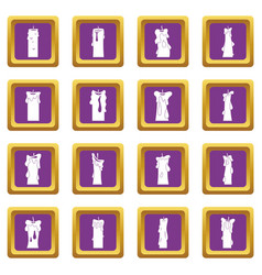 Candle forms icons set purple vector
