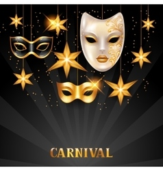 Carnival invitation card with golden masks vector