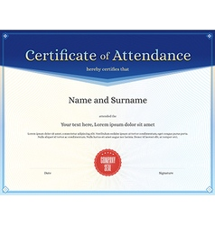 Certificate of attendance template blue vector image