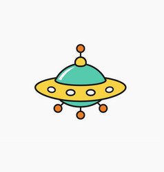 childs drawing ufo icon unknow flying object vector image