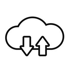Cloud storage with upload and dowload arrows icon vector