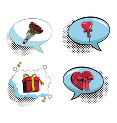 Collection of romantic gifts pop art cartoon vector