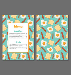 colorful menu with scrambled eggs bacon and bread vector image