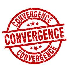 Convergence round red grunge stamp vector