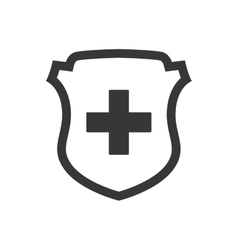 Cross shield medical health care icon vector