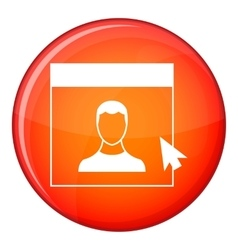 Cursor point man on monitor icon flat style vector