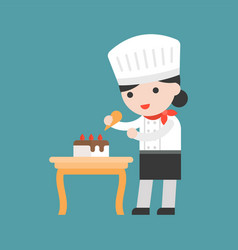 Cute pastry chef decorating cake flat design vector
