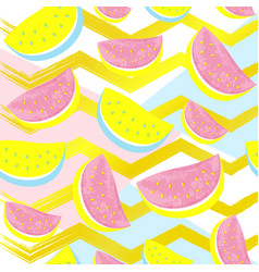 cute watermelon pattern isolated on abstract gold vector image
