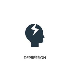 Depression icon simple element vector