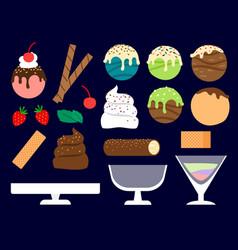 Dessert maker ice cream balls vector
