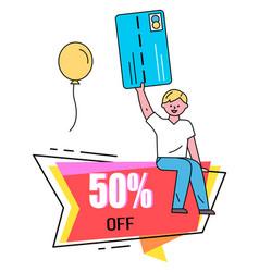 Discount for clients shop 5 percent off banner vector