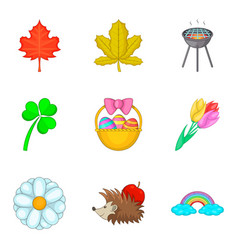 Early spring icons set cartoon style vector