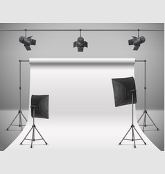 empty photo studio with equipment vector image