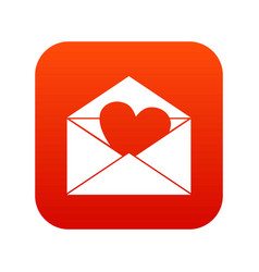 envelope with valentine heart icon digital red vector image