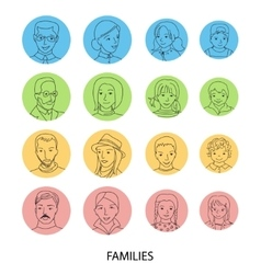 Families avatar set thin line vector image
