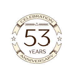 fifty three years anniversary celebration logo vector image