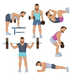 Fitness Male Characters Set vector image