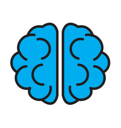 flat color brain icon vector image