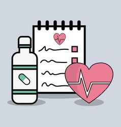 Flat line concept medical prescription vector