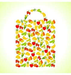 Fruits and vegetables in the shape of shopping bag vector image