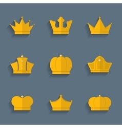 Gold crown set vector image