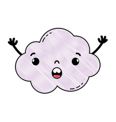 Grated surprised and cute cloud kawaii weather vector