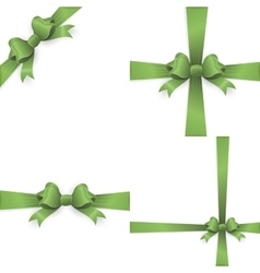 Green ribbon bow isolated on white EPS 10 vector