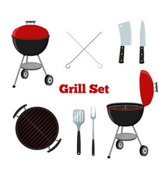 grill set - grill stand cutlery knife cleaver vector image