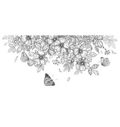 Hand drawn wild flowers and flying butterflies vector
