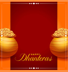 Happy dhanteras background with golden coins pot vector