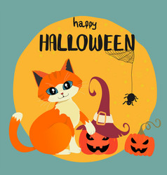 Happy halloween card with hand drawn orange cat vector