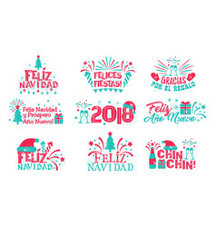Happy new year spanish set vector
