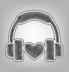 headphones with heart pencil sketch vector image