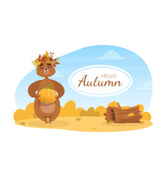 hello autumn banner template cute brown bear in vector image