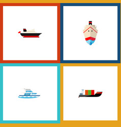 Icon flat ship set of cargo shipping transport vector