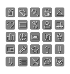 Icons e-Commerce Flat objects shopping symbols vector image