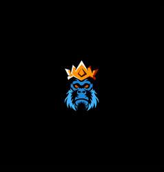 King gorilla mascot logo vector