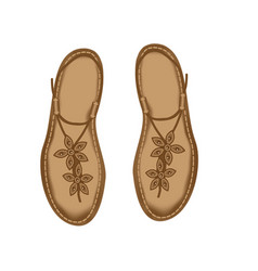 leather sandals for women decorated with stitch vector image