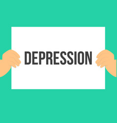 Man showing paper depression text vector