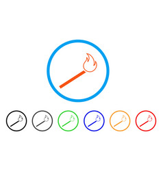 match fire rounded icon vector image