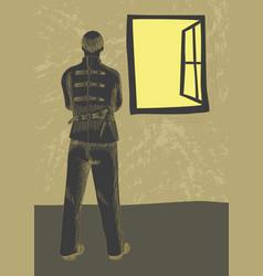 mentally ill man wearing strait jacket vector image