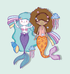 Mermaids women with jellyfish and shells vector